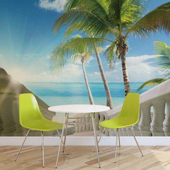 Beach Tropical Sea Palms Valokuvatapetti