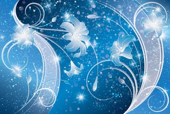 Blue Silver Floral Abstract Valokuvatapetti