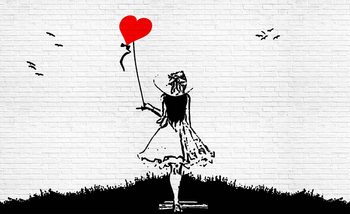 Brick Wall Heart Balloon Girl Graffiti Valokuvatapetti