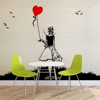 Kuvatapetti, Tapettijuliste Brick Wall Heart Balloon Girl Graffiti