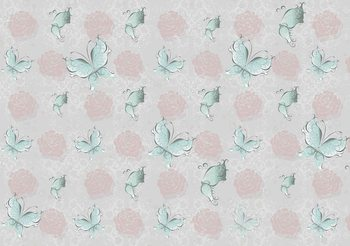 Kuvatapetti, TapettijulisteButterlies and Roses Pattern
