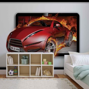 Car Flames Valokuvatapetti