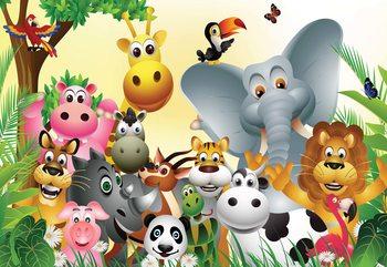 Cartoon Animals Elephant Tiger Cow Pig Valokuvatapetti