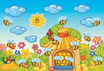 Cartoon Bees And Sunshine Valokuvatapetti