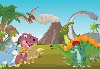 Cartoon Dinosaurs Valokuvatapetti