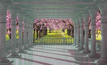 Cherry Trees through The Arches Valokuvatapetti