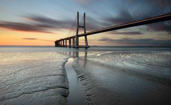 City Bridge Beach Sun Portugal Sunset Valokuvatapetti
