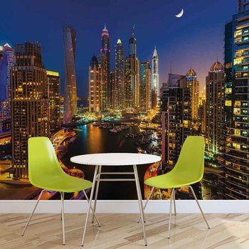 City Dubai Skyscraper Night Valokuvatapetti