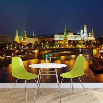 City Moscow River Bridge Skyline Night Valokuvatapetti