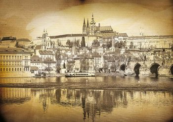 City Prague Bridge Cathedral River Sepia Valokuvatapetti