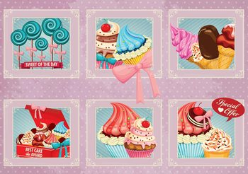 Cupcakes Pink Retro Valokuvatapetti