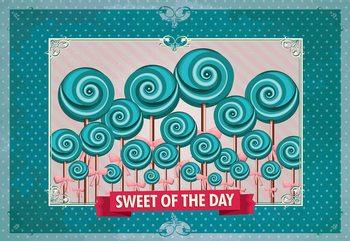 Cupcakes Turquoise Retro Valokuvatapetti