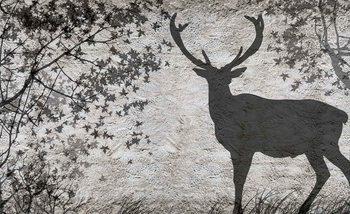 Deer Tree Leaves Wall Valokuvatapetti