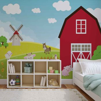 Farm Cartoon Boys Bedroom Valokuvatapetti