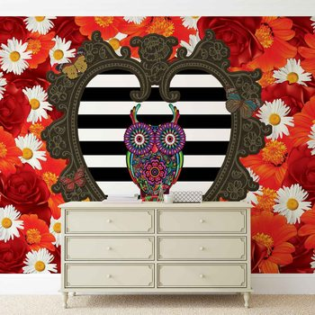 Floral Heart Owl Red Valokuvatapetti