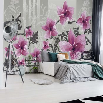 Floral Pattern With Swirls Valokuvatapetti