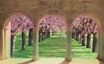Flowering Trees Through The Arch Valokuvatapetti