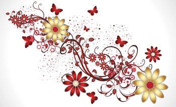 Flowers Butterflies Pattern Red Valokuvatapetti