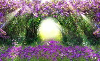 Flowers Purple Forest Light Beam Nature Valokuvatapetti