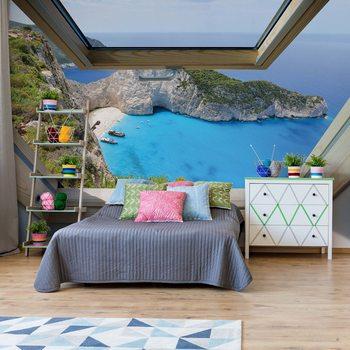 Greek Island Skylight Window View Valokuvatapetti