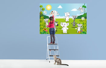 Kuvatapetti, Tapettijuliste Happy Animals - COLOR IT YOURSELF