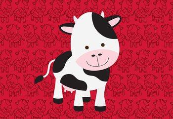 Happy Cartoon Cow Valokuvatapetti