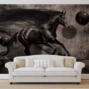 Horse Spheres Black 3D Valokuvatapetti