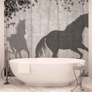 Horses Tree Leaves Wall Valokuvatapetti
