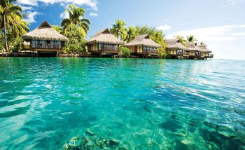 Island Caribbean Sea Tropical Cottages Valokuvatapetti