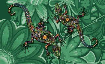 Lizards Flowers Abstract Colours Valokuvatapetti