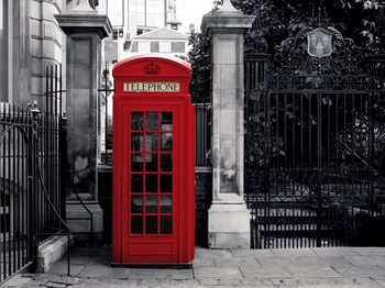 Lontoo - brittiläinen punainen puhelinkoppi Kuvatapetti