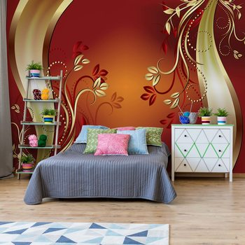 Luxury Ornamental Floral Design Orange Valokuvatapetti