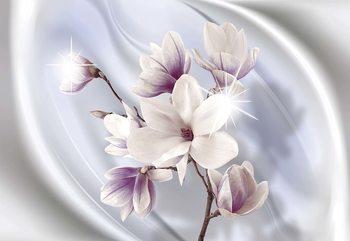 Magnolia Modern Floral Design Blue Valokuvatapetti