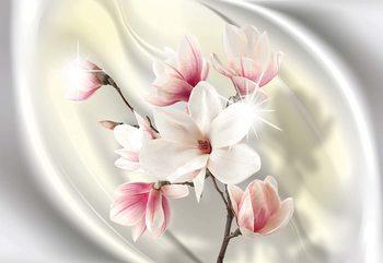 Magnolia Modern Floral Design Yellow Valokuvatapetti