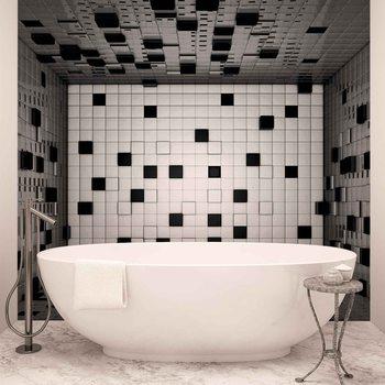Modern Abstract Squares Black White Valokuvatapetti