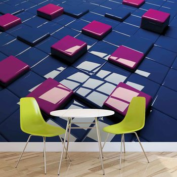 Modern Abstract Squares Blue Purple Valokuvatapetti