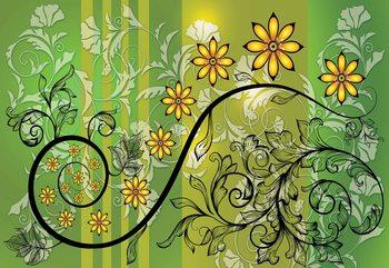 Modern Floral Design With Swirls Green And Yellow Valokuvatapetti