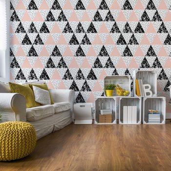 Modern Geometric Triangle Pattern Pink Black Valokuvatapetti