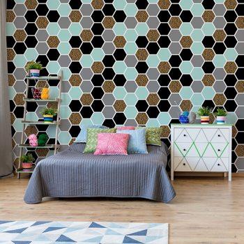 Modern Hexagonal Pattern Valokuvatapetti