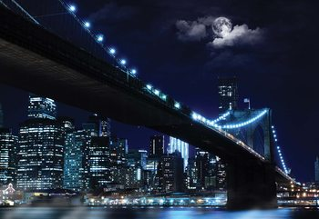 New York Brooklyn Bridge At Night Valokuvatapetti