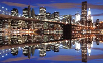 New York Brooklyn Bridge Night Valokuvatapetti