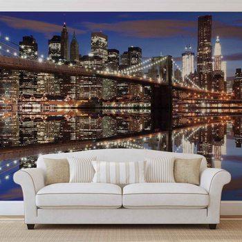 New York Brooklyn Bridge Night Valokuvatapetti