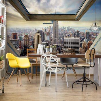 New York City Skyline 3D Skylight Window View Valokuvatapetti