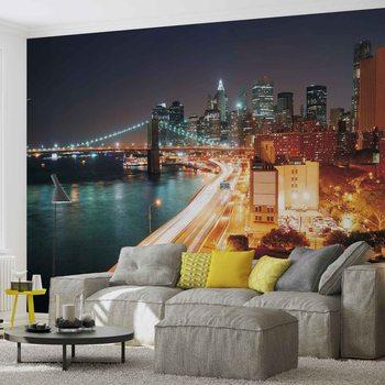 New York City Skyline Night Valokuvatapetti