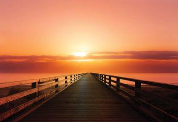 Ocean Pier Sunset Valokuvatapetti