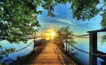 Path Pier Trees Boats Sunset Valokuvatapetti