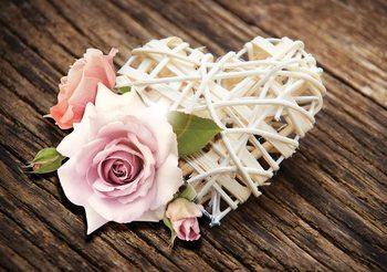 Pink Rose Heart Valokuvatapetti