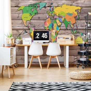 Political World Map On Wood Background Valokuvatapetti