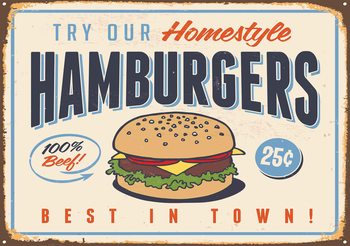 Retro Poster Hamburgers Valokuvatapetti