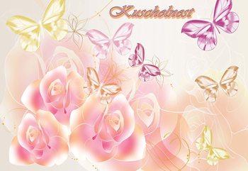 Roses Butterflies Valokuvatapetti